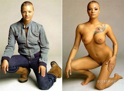 Порноактрисы: одетые и голые