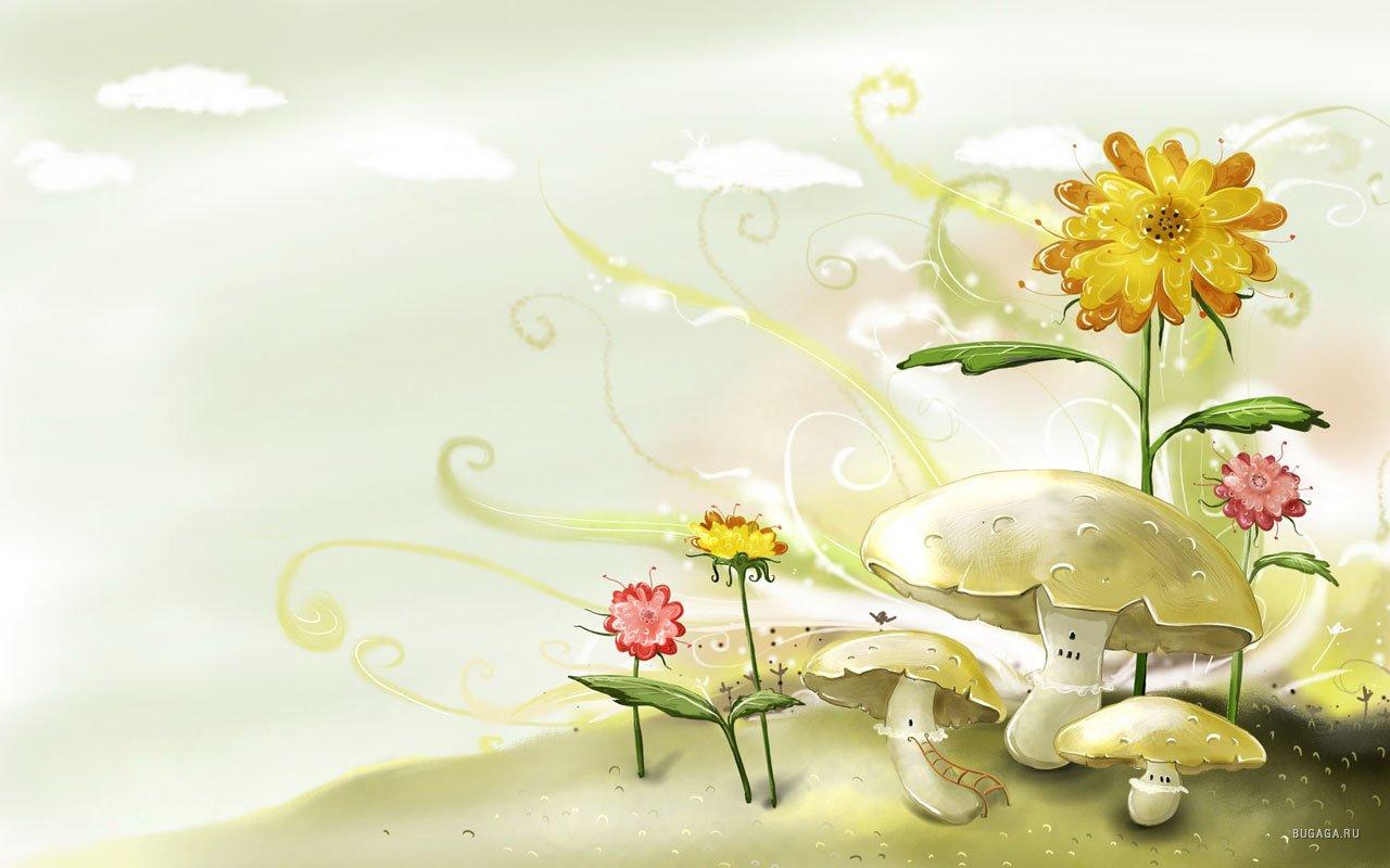 1680x1050 цветы, рисунок, грибы hd обои на рабочий стол 2863…