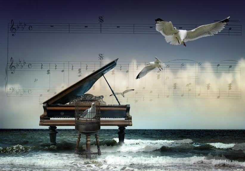 Пианино в море картинки