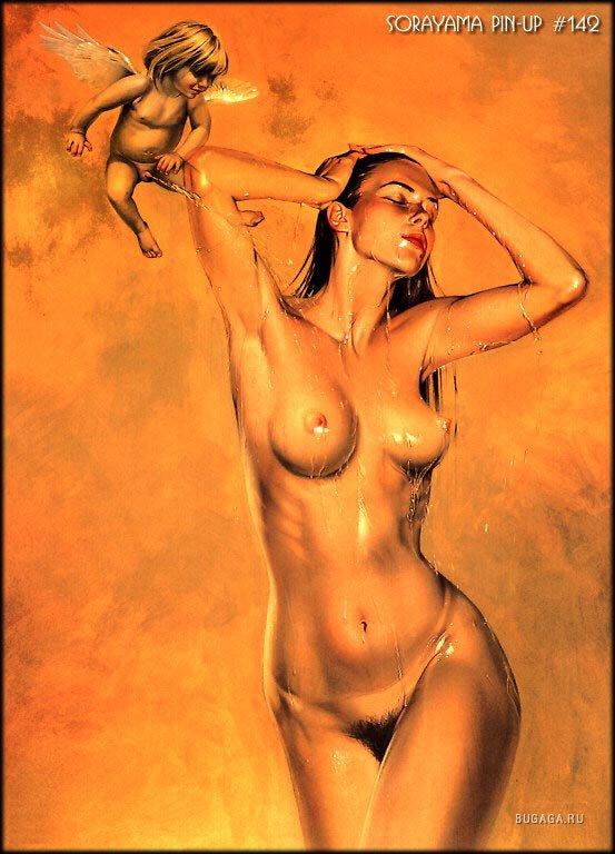 рисованные голые девушки фото