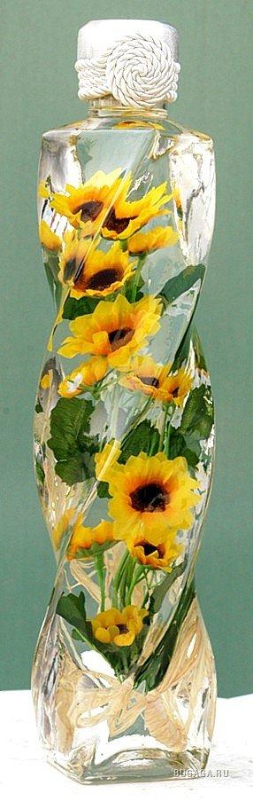 Цветы в бутылке - декоративные украшения