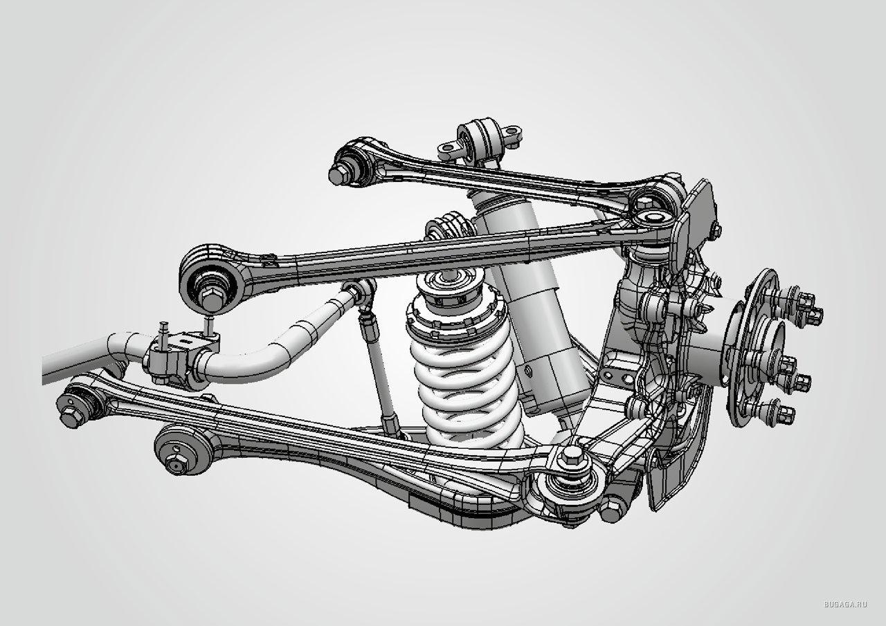 Многорычажная схема задней подвески обеспечивает точную кинематику даже при реализации больших тяговых...