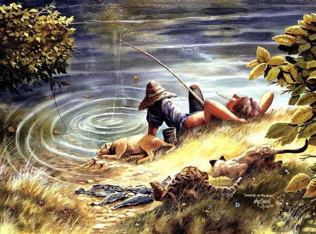 рисунки рыбалка художник