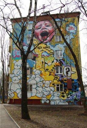 Граффити на московских пятиэтажках