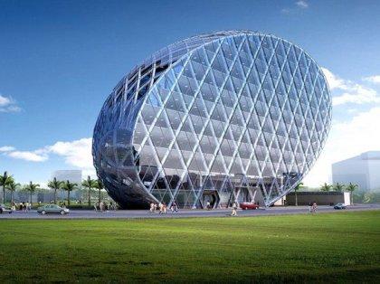 Здание стоящее под таким углом использует 10-20% меньшей внешней поверхности...
