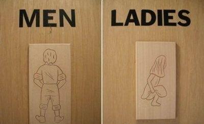 Прикольные туалетные указатели