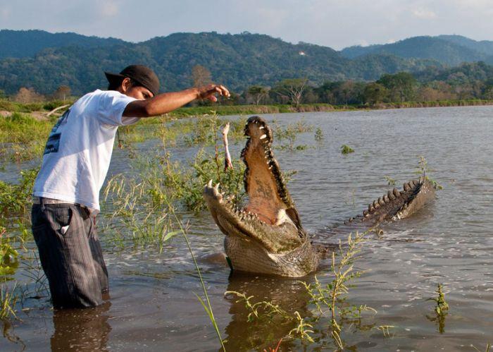 рыбак у того длинней рука