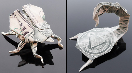 Origami dollar bills