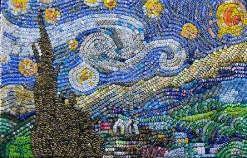 """""""Звездная ночь"""" Ван Гога из крышек от бутылок"""