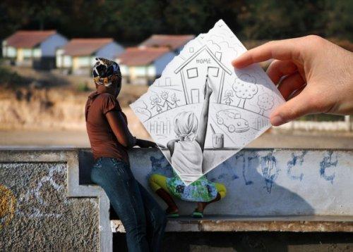 Карандаш и фото от Бена Гейне
