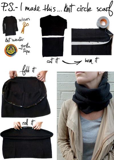 Возьмите ненужную кофту или свитер и точно также отрежьте верхнюю его...
