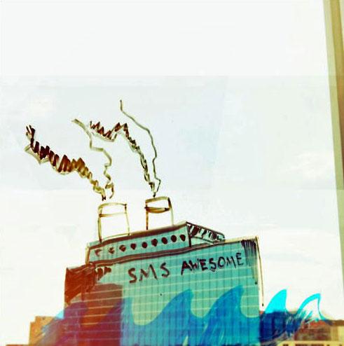 Креативные рисунки на окнах