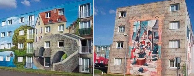 рисунки дома на стенах на лестнице