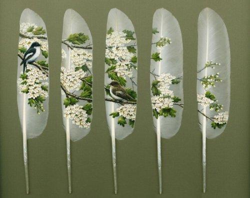 Рисунки на лебединых перьях