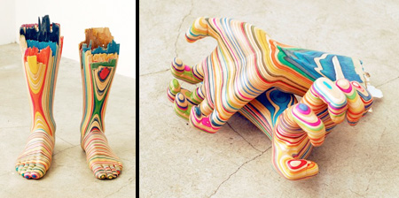 3D скульптуры из переработанных скейтбордов