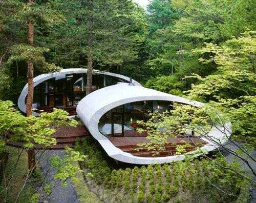 Инопланетный дом в японском лесу