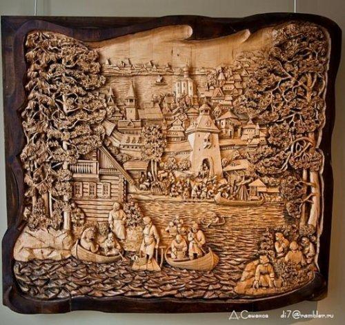 Удивительные картины, вырезанные из дерева