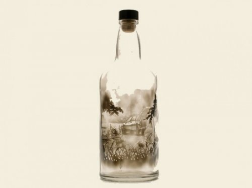 Рисунки на бутылках Джима Динджилиана
