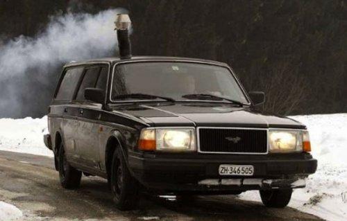Автомобиль с дровяной печью