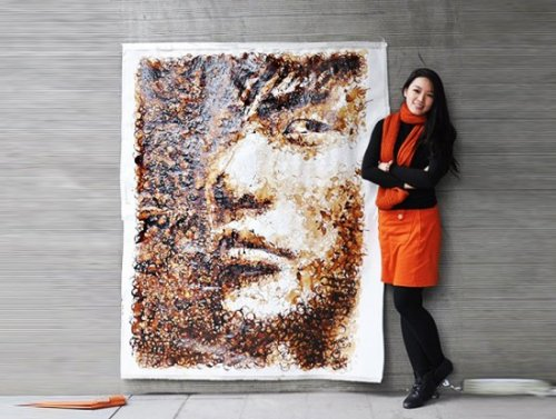 Портрет из кофейных пятен