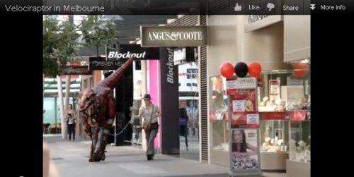 Устрашающий велоцираптор на улице Мельбурна