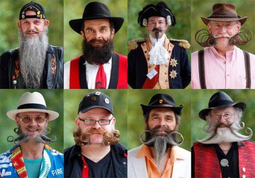Лица ежегодного конкурса на лучшие усы и бороду, проходящего во Франции