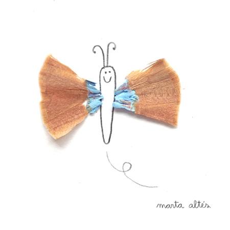 Рисунки с использованием очисток от заточки карандашей, созданные Мартой Алтес