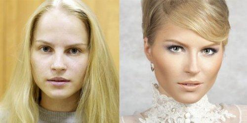 Девушки, преобразившиеся благодаря умелому макияжу (18 фото)