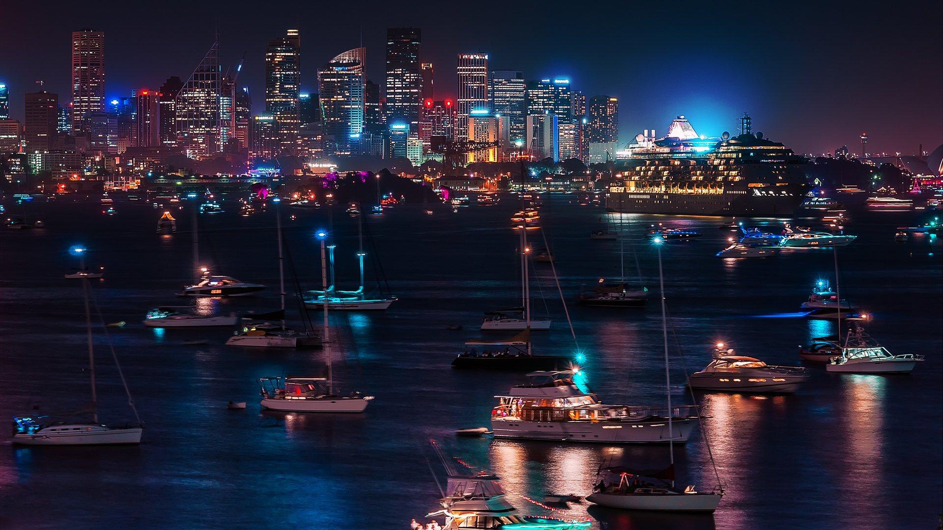 Обои ночные огни, ночной город, Пейзаж. Города foto 9