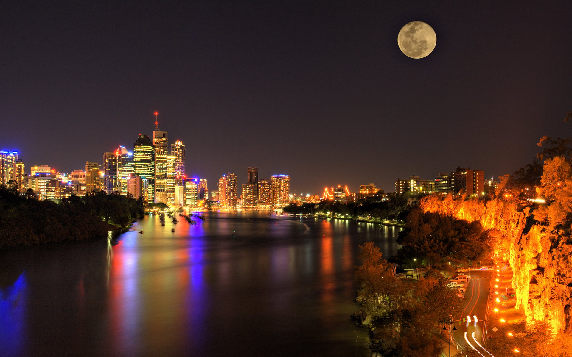 Обои ночные огни, ночной город, Пейзаж. Города foto 15