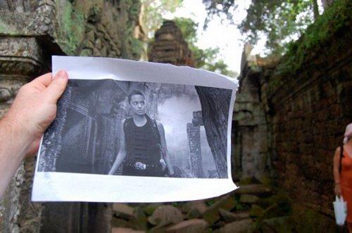 Кадры из фильмов на фоне мест съемок