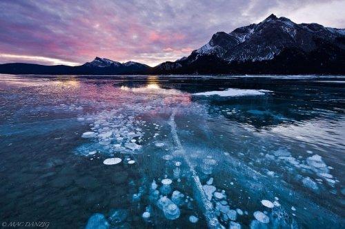 Замороженные пузырьки в озере Авраама