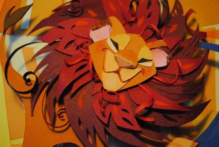 Как из цветной бумаги сделать льва из