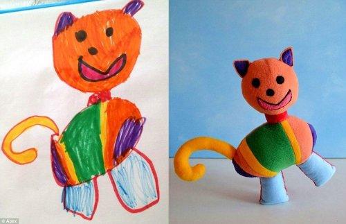 Уникальные мягкие игрушки, сшитые по детским рисункам (24 фото)