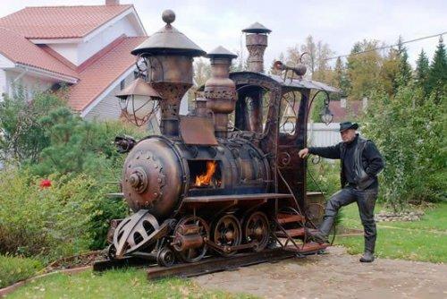Гриль для барбекю в форме стимпанк локомотива (4 фото)