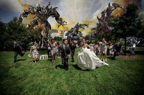 Свадебные фотографии с нападением (7 шт)