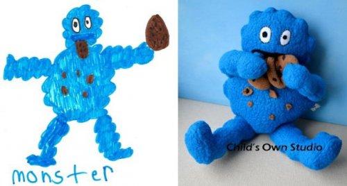 Мягкие игрушки, сшитые по детским рисункам (33 фото)