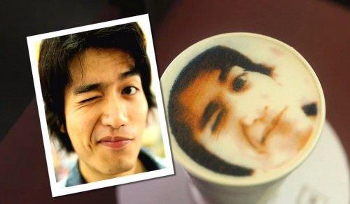 Величайшее латте-творчество: кафе из Тайваня «распечатывает» ваш портрет в чашке кофе