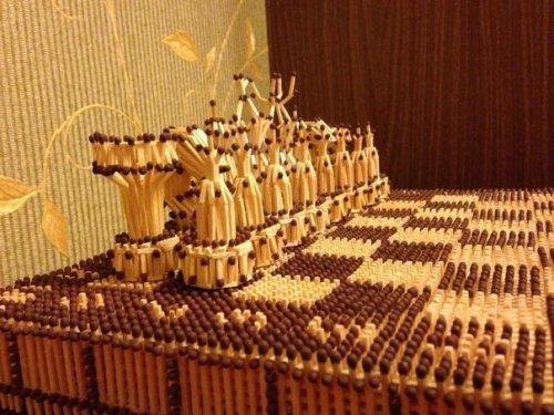 Оригинальная шахматная доска из спичек (5 фото)