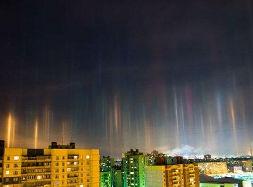 Удивительный вид гало: световые столбы (25 фото)