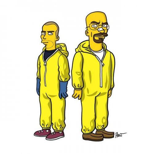 """Персонажи телесериала """"Во все тяжкие"""" в стиле Симпсонов (12 фото)"""