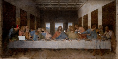 Современные гаджеты на известных картинах (12 фото)