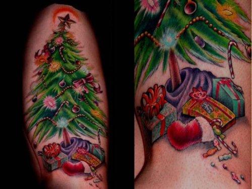 Прикольные рождественские татуировки (20 шт)