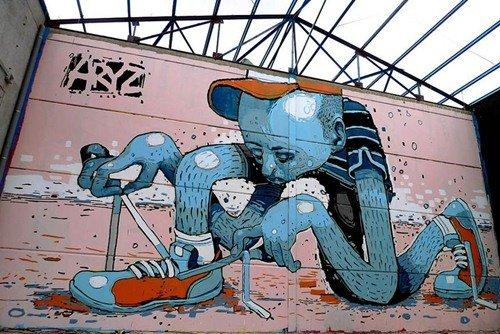 Уличные работы испанского художника Aryz (25 фото)
