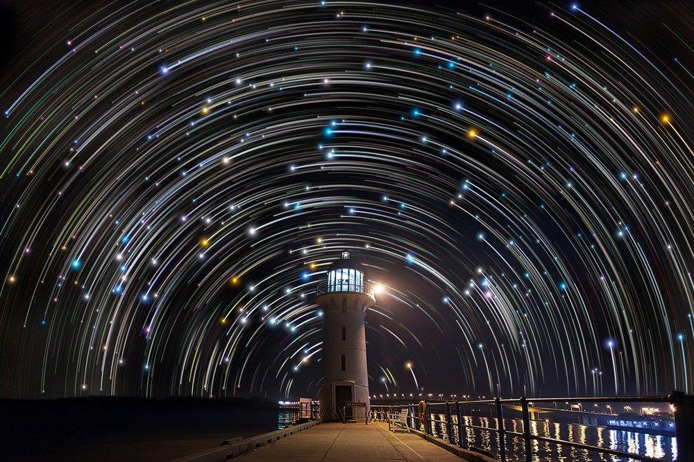 ночная фотосъемка звезд листья, например