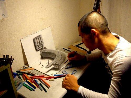 Удивительные трёхмерные рисунки Нагаи Хидеюки (20 фото + видео)