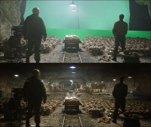 Кадры из известных фильмов и сериалов до и после добавления спецэффектов (44 фото)