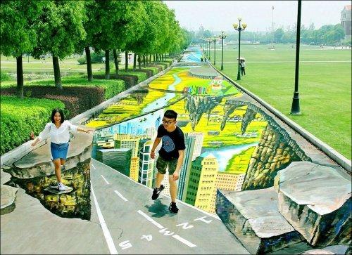 В Китае нарисовали крупнейший в мире меловой 3D-рисунок (5 фото)