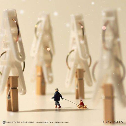 Миниатюрный календарь японского художника Танаки Тацуя (24 фото)