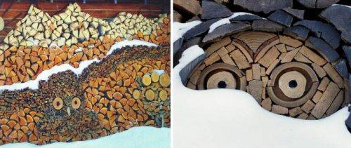 Заготовка дров с креативным подходом (13 фото)